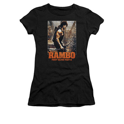 Rambo The Hunt Poster Black Juniors T-Shirt