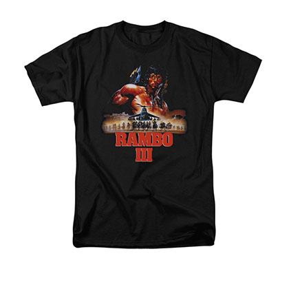 Rambo III French Poster Black T-Shirt
