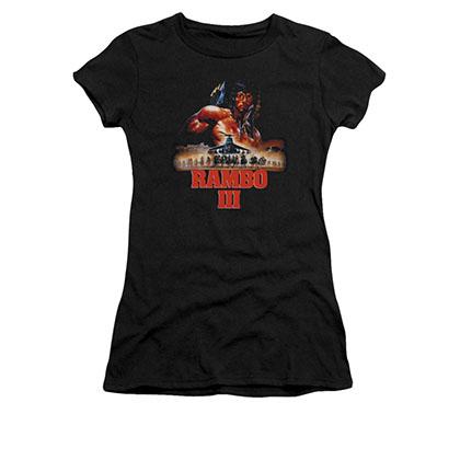 Rambo III French Poster Black Juniors T-Shirt