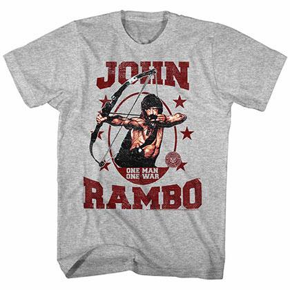 Rambo One Man One War Gray Tee Shirt
