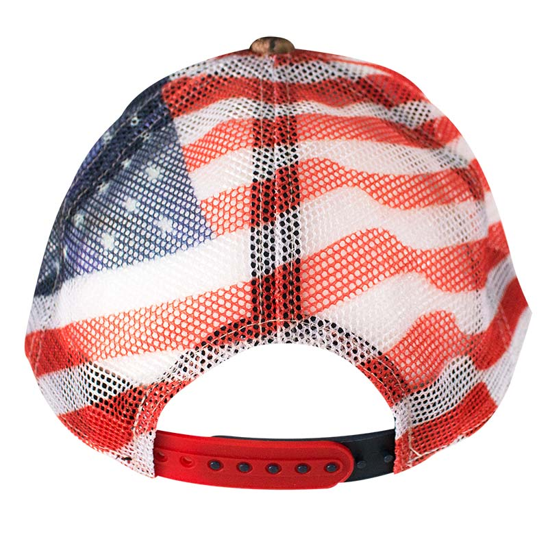 Chevrolet adjustable american flag mesh camo trucker hat for American flag fish hat