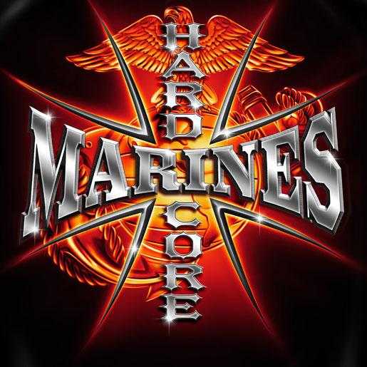United States Marine Corps Hardcore Marines Black TShirt