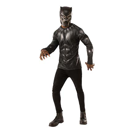 Black Panther Men's Costume Shirt Mask Halloween Set