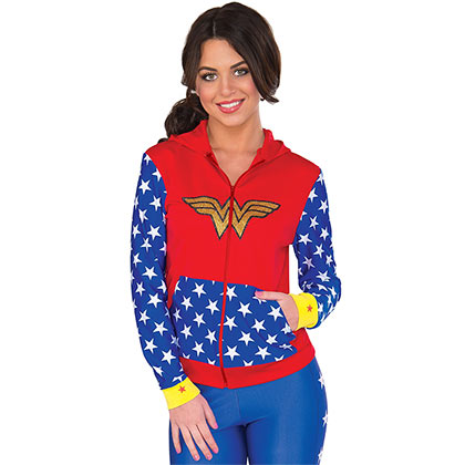Wonder Woman Superhero Ladies Fitted Hoodie