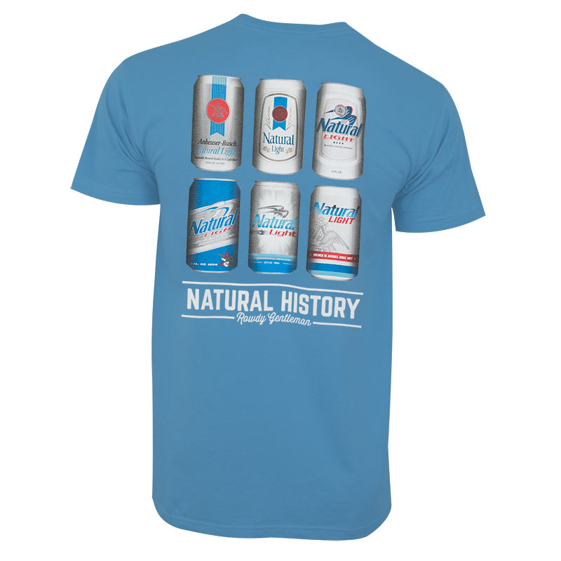 a115b386e5eae Natural Light Men s Blue Natural History Rowdy Gentleman T-Shirt