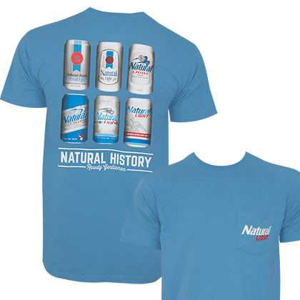 Natural Light Men's Blue Natural History T-Shirt