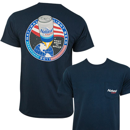 Natural Light Men's Navy Blue First Beer In Space T-Shirt