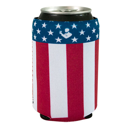 American Flag Rowdy Gentleman Patriotic Vertical Stripe Can Cooler