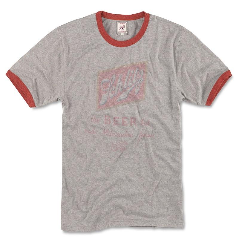 Schlitz Beer Faded Logo Men's Grey Ringer T-Shirt