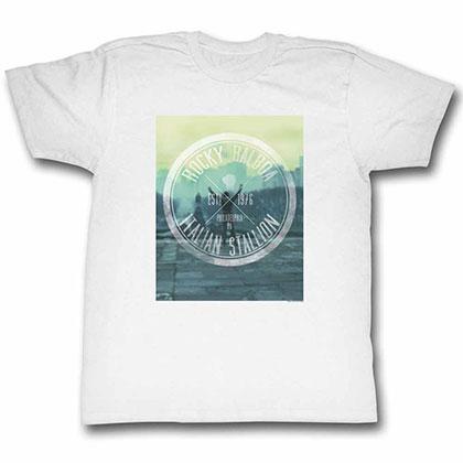 Rocky Hipster Logo White Tee Shirt