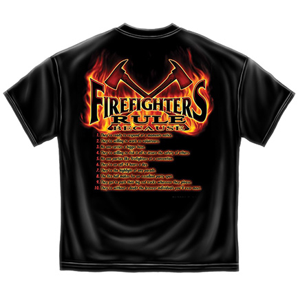 Top Ten Firefighters Rule List Tee Shirt
