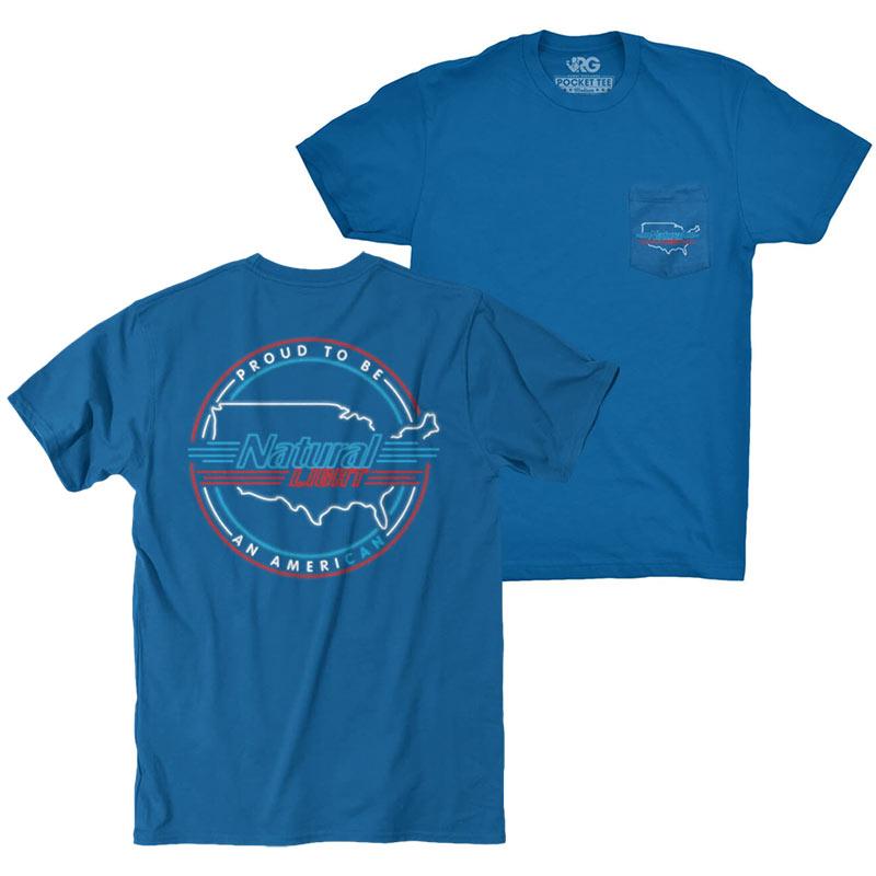 Natty Light Men's Blue Rowdy Gentleman Proud American T-Shirt