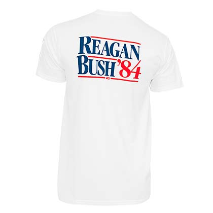 Reagan Bush '84 Rowdy Gentleman White Pocket Tee Shirt