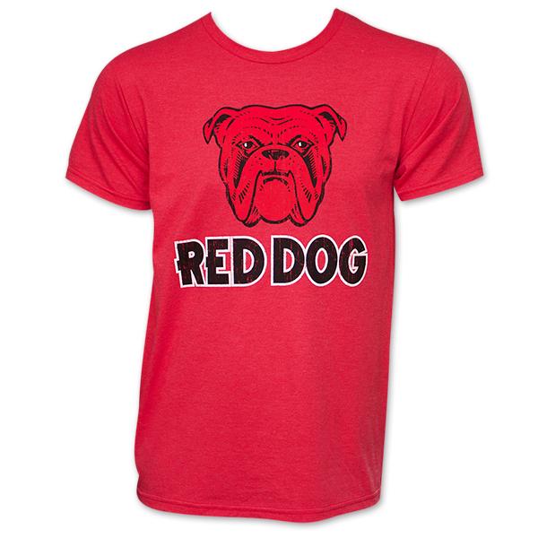 Red Dog Bulldog Logo T Shirt - Red