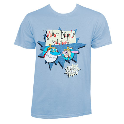Ren and Stimpy Men's Carolina Blue Rubber Nipples Salesmen T-Shirt