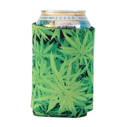 VIVID LEAF PATTERN POT LEAF KOOZIE PLACEHOLDER