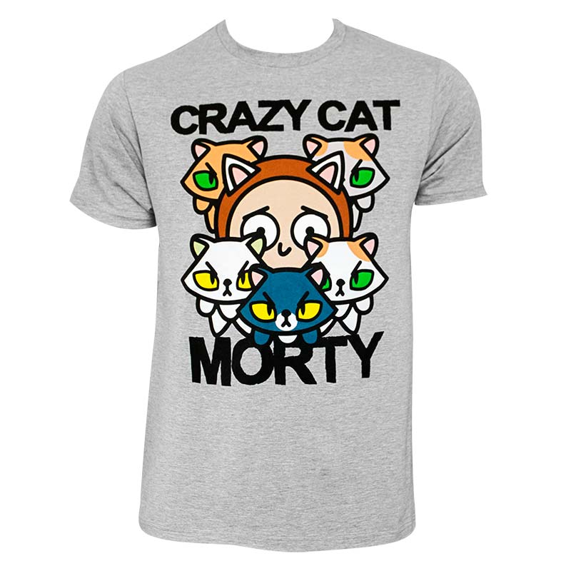 Rick And Morty Men's Grey Crazy Cat T-Shirt