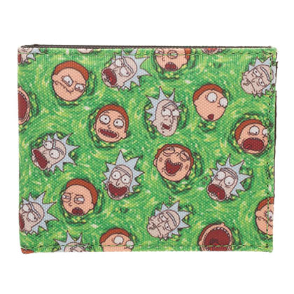 Rick And Morty Green Bi-Fold Faces Wallet