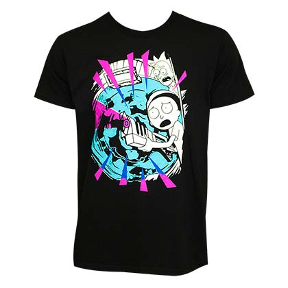 Rick And Morty Men's Black Pink Rays T-Shirt