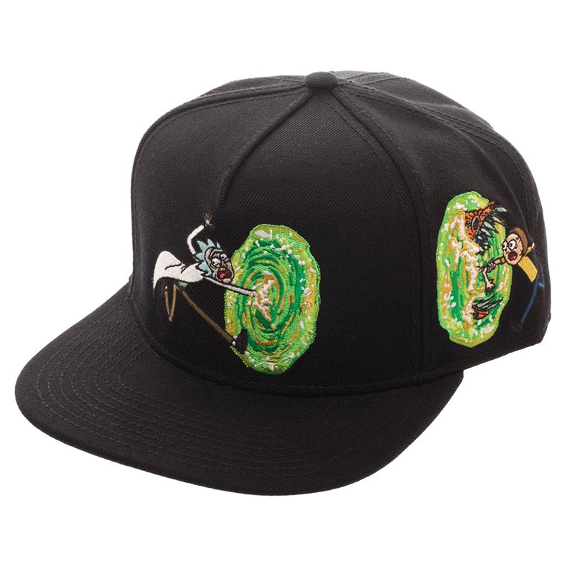 Rick And Morty Portal Opening Black Snapback Hat
