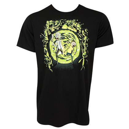 Rick And Morty Men's Black Portal T-Shirt