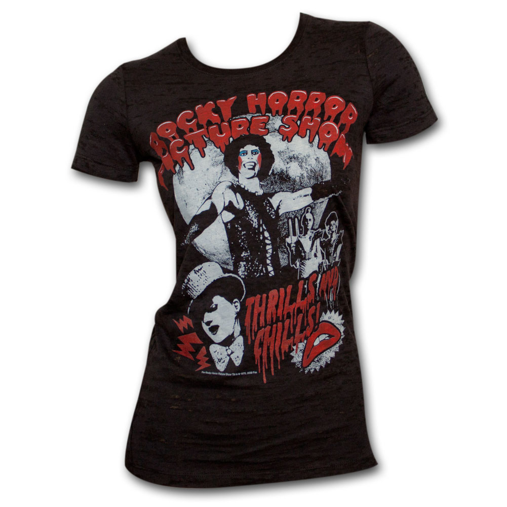 Rocky Horror Picture Show Black Burnout Juniors Graphic Tee Shirt