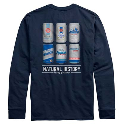 Natural Light Natty Natural History Long Sleeve Navy Blue T-Shirt