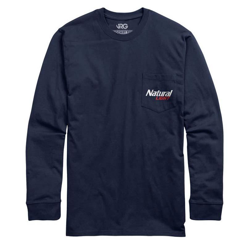 Natural Light Natty Natural History Long Sleeve Navy Blue T-Shirt