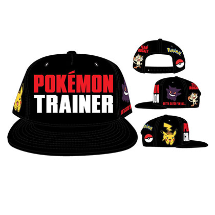 Pokemon Trainer Black Snapback Hat