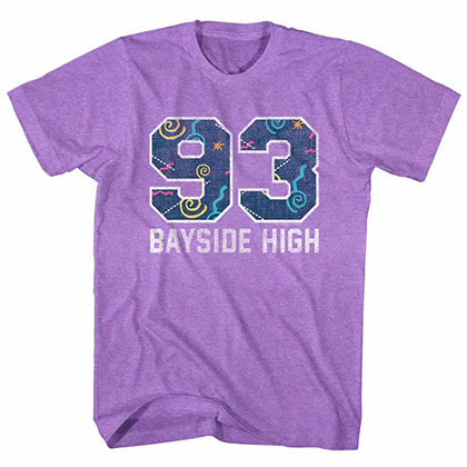 Saved By The Bell Pattern Varsity Purple Tee Shirt