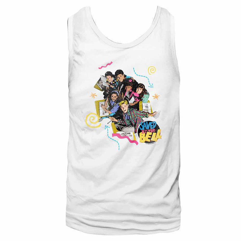 Saved By The Bell Pastel White  Tank Top