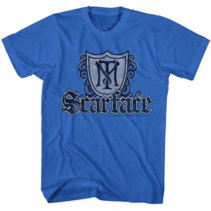 Scarface Shield & Guns Blue Tee Shirt
