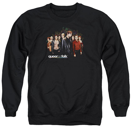 Queer As Folk Title Black Crew Neck Sweatshirt
