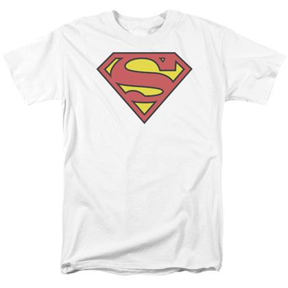 Superman Classic Logo Men's White Tshirt