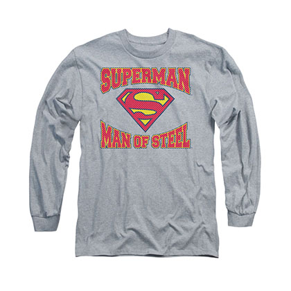 Superman Man Of Steel Gray Long Sleeve T-Shirt