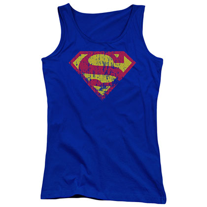Superman Distressed Logo Blue Juniors Tank Top