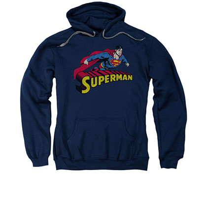 Superman Flying Over Logo Navy Pullover Hoodie