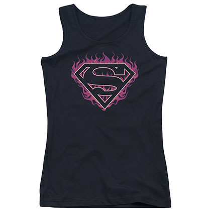 Superman Fuchsia Flames Black Juniors Tank Top
