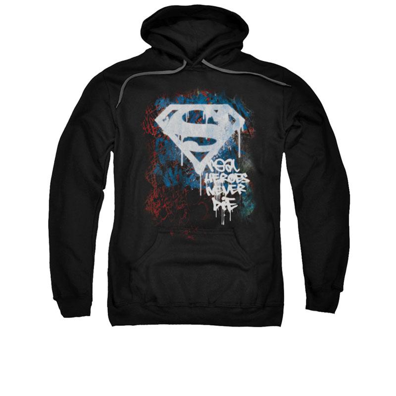 Superman Real Heroes Never Die Black Pullover Hoodie