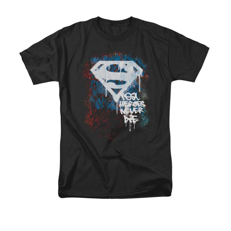 Superman Real Heroes Never Die Black T-Shirt