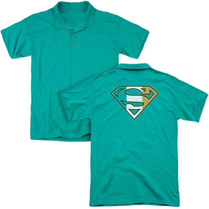 St. Patrick's Day Superman Irish Shield Back Print Green Polo Shirt