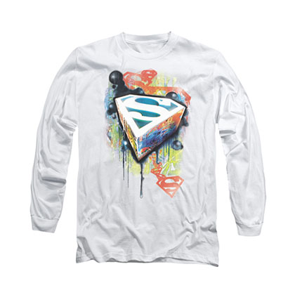 Superman Urban Graffiti White Long Sleeve T-Shirt