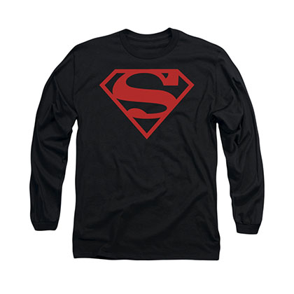 Superman Crimson Logo Black Long Sleeve T-Shirt
