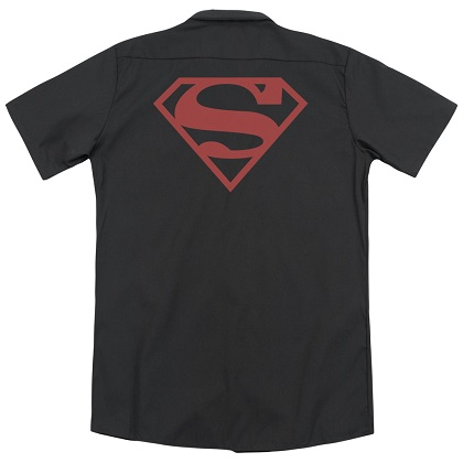 Superman Red on Black Logo Work Shirt