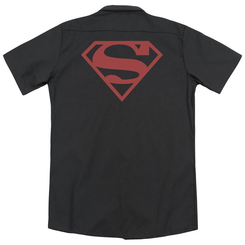Superman Red on Black Logo Work Shirt