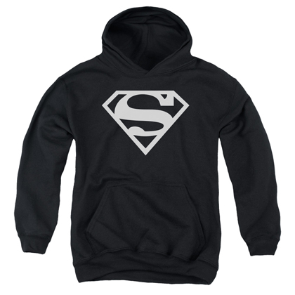 Superman Black and White Logo Youth Hoodie