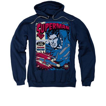 Superman Action Packed Comic Navy Pullover Hoodie