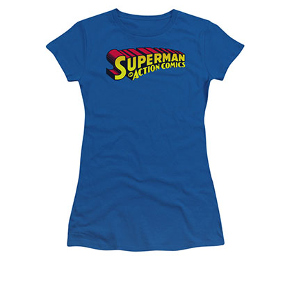Superman Action Comics Logo Blue Juniors T-Shirt