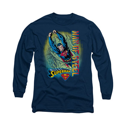 Superman Breakthrough Blue Long Sleeve T-Shirt