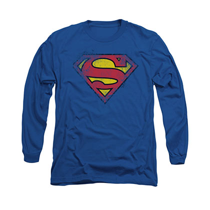 Superman Distressed Logo Blue Long Sleeve T-Shirt